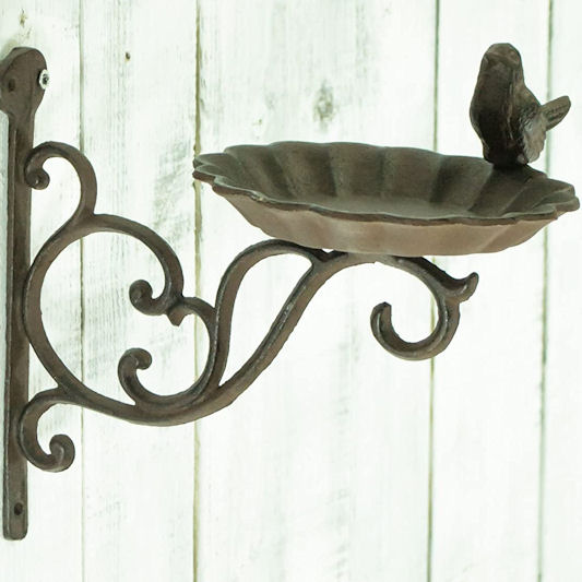 east2eden Vintage Cast Iron Wall Mounted Bird Bath