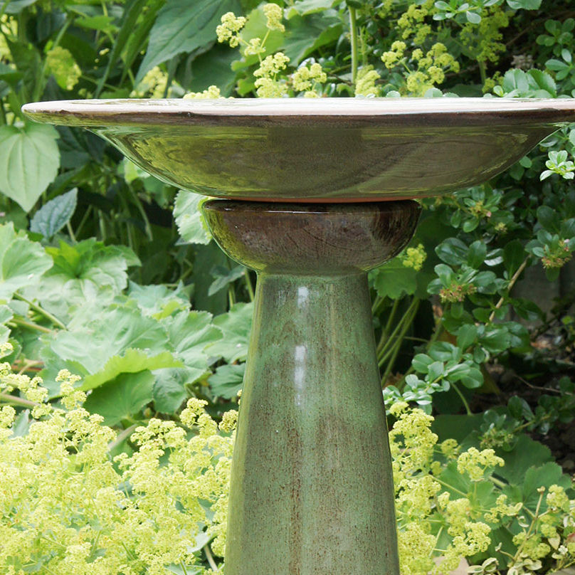 Echoes Ceramic Bird Bath with Stand