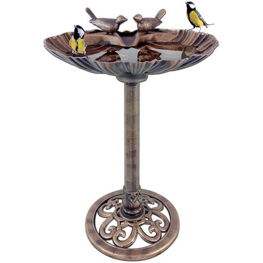 Garden Kraft Bronze Effect Clam Shell Bird Bath