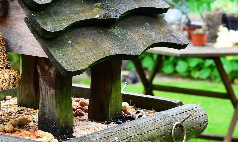 Heavy weathered bird table packed with bird seed, nut mixes