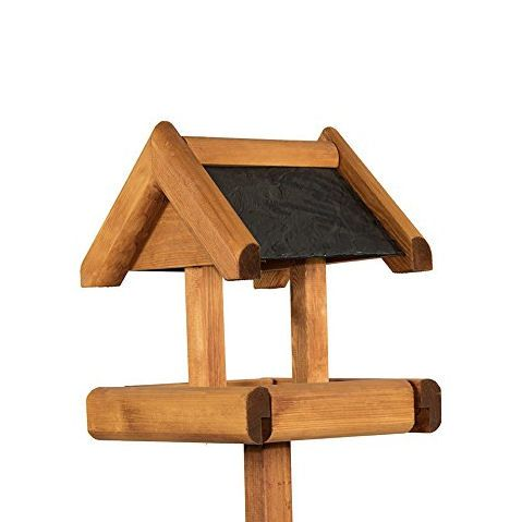 Riverside Woodcraft Bird Table with Rustic Slate