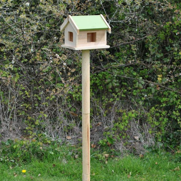 Pigeon proof bird table setup on lawn