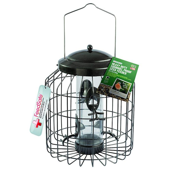 Gardman seed feeder at the centre of the cage wiring